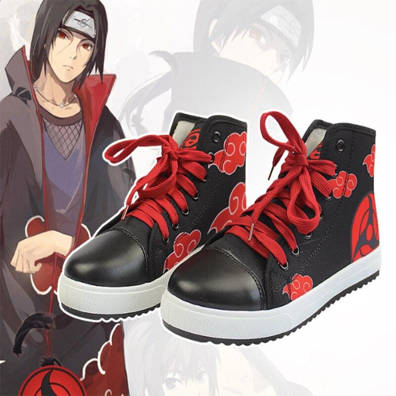 Аниме обувь для косплея Наруто унисекс Akatsuki Учиха Итачи Дейдара Пэйн косплэй холст красный обувь Cloud Хэллоуин Карнавальная Вечерние
