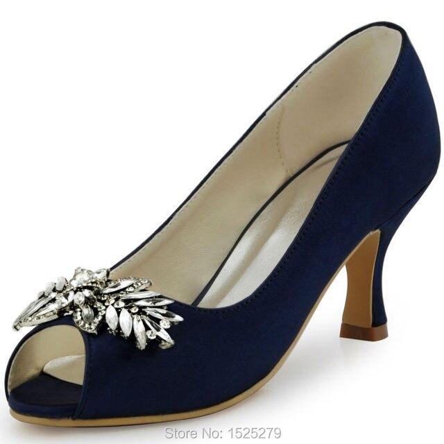 b6dfe4b3130 HP1540 Navy bluw Women Buckle Peep toe Bridal Party Prom Pumps Chunky Heels  Lady Satin Wedding Shoes EU35-42