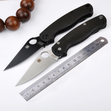 New tactical folding knife carbon fiber handle C81 camping survival pocket knives Two colors outdoor hunting Help tools EDCgift
