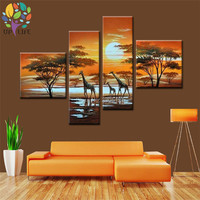 Hand painted africa animal oil painting african wild landscape scenery view canvas wall paintings giraffes canvas art for HOME