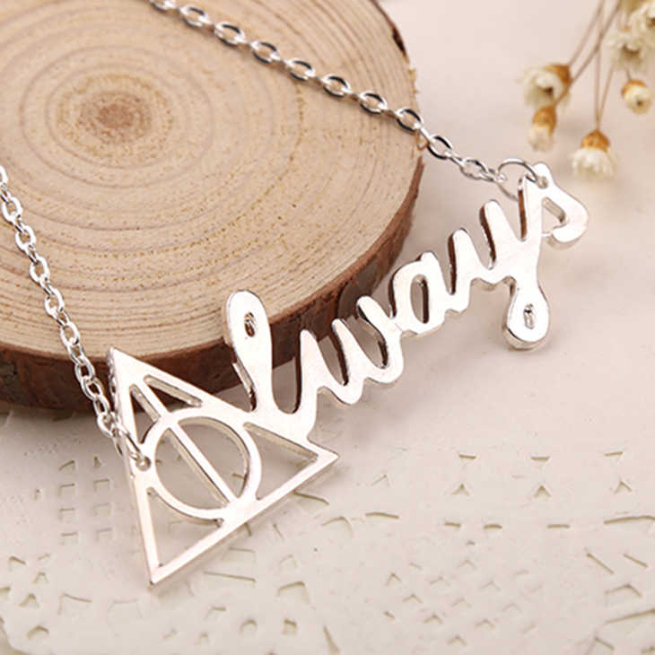 Always Necklace Deathly Hallows Luna Hogwarts JK Rowling Silver Letter Pendant Fashion New Hot Movie Jewelry Men Women Wholesale