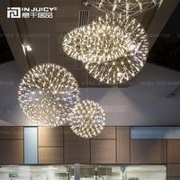 Nordic Loft Fireworks LED Stainless Steel DropLight Flute Pendant Cafe Dinning Room Hotel Restaurant
