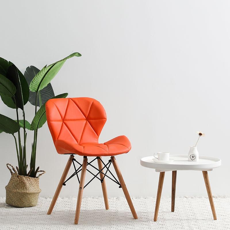 Современный минималистичный стол компьютерный стул домашний Ресторан обеденный стул из твердой древесины скандинавский диван спинка макияж пляж - Цвет: J