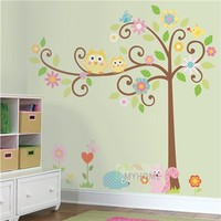 Cute Tree Cartoon Wall Decor Decal Owls Animal Home Decorative Wall Stickers For Kids Playroom DIY