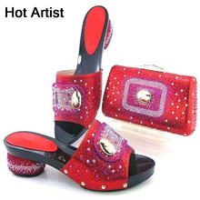 Hot Artist Italian Style PU Leather Shoes And Bag Set Lastes Africa Woman Heels Shoes And Bag Set For Party Size 38-43 TYS17-49