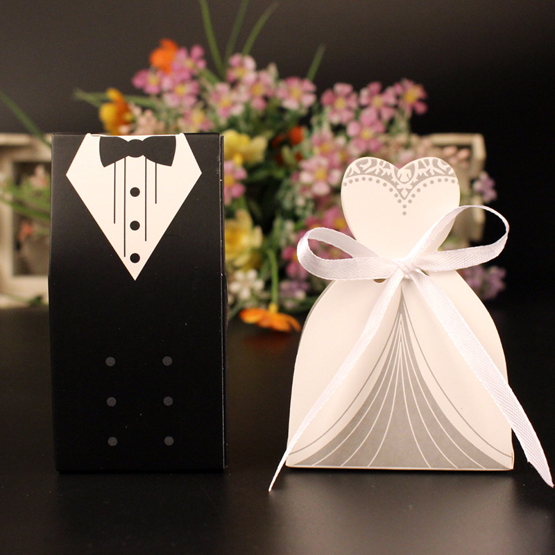 New 50 Pcs Laser Cut Candy Boxes Bags Bridal Groom Gift Cases Tuxedo Dress Gown Candy Box Wedding Favors And Gifts With Ribbon