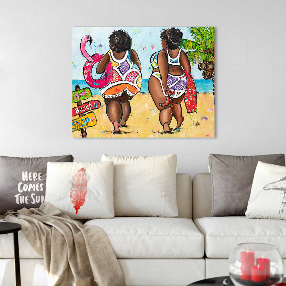 HDARTISAN Vrolijk Schilderij Wall Art Canvas Painting Animal Hot Gril on Beach Picture Prints Home Decor No Frame