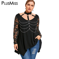 PlusMiss Plus Size 5XL Sexy Chains Embellished Choker Neck Gothic Tops Women Clothes Punk Rock Mesh
