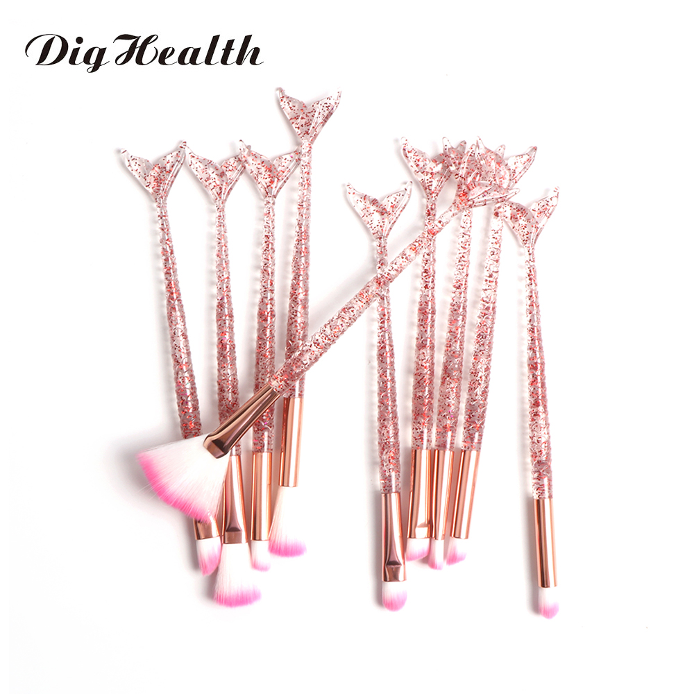 Dighealth 10pcs Mermaid Brush Foundation Powder Eye shadow Eyeliner Makeup Brushes Eyebrow Blush Lip Make Up Brush Mermaid Set
