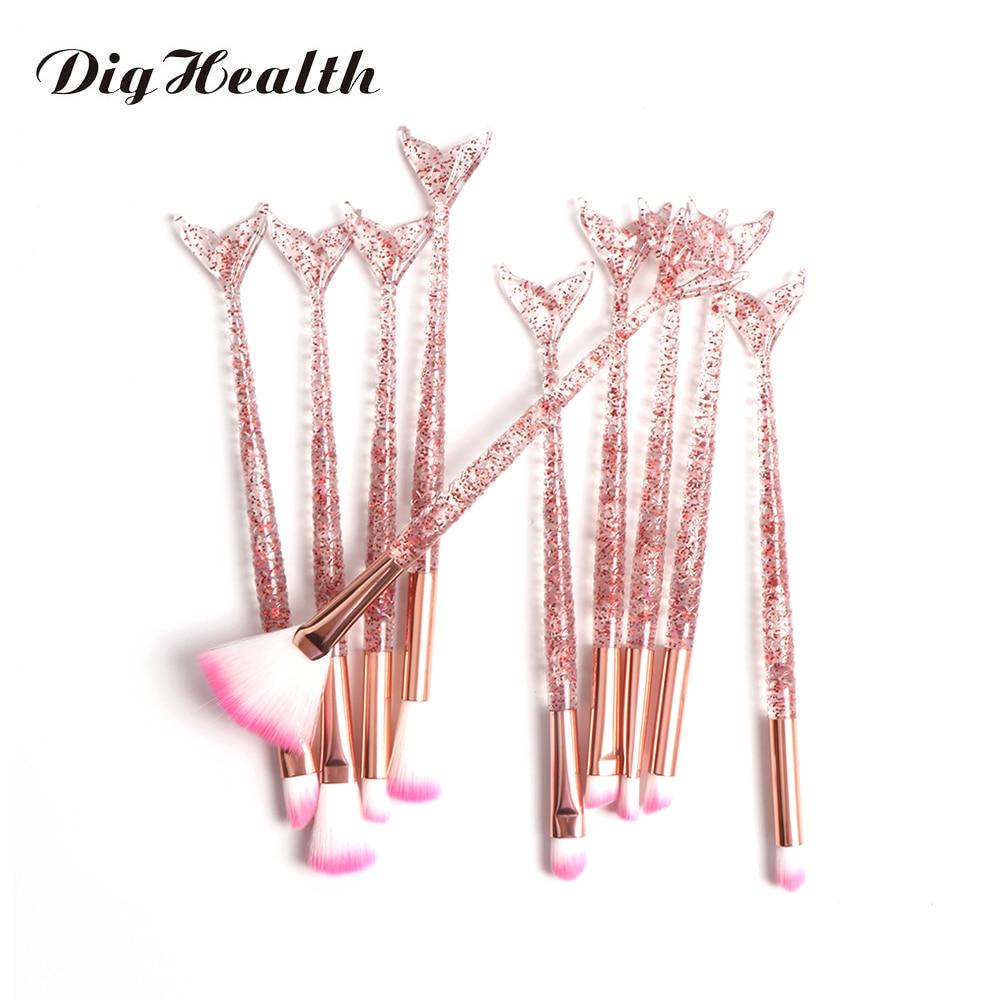 10pcs Mermaid Brush Foundation Powder Eyeshadow Eyeliner Makeup Brushes Eyebrow Blush Lip Make Up Brush Mermaid Set