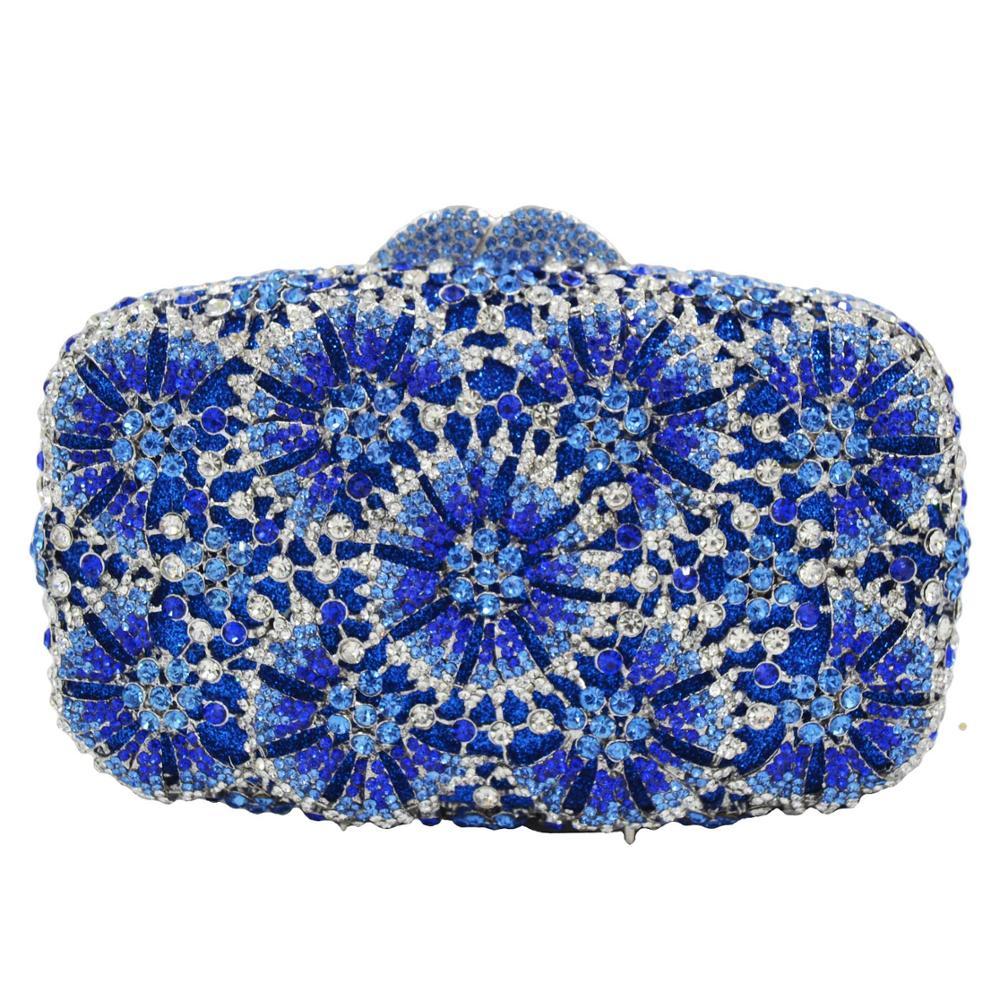 Niebieski zielony kryształ torby luksusowe projektant mody torebki wieczorowe kopertówka ślubna dla nowożeńców sprzęgła torby SC922 w Torby z uchwytem od Bagaże i torby na  Grupa 1