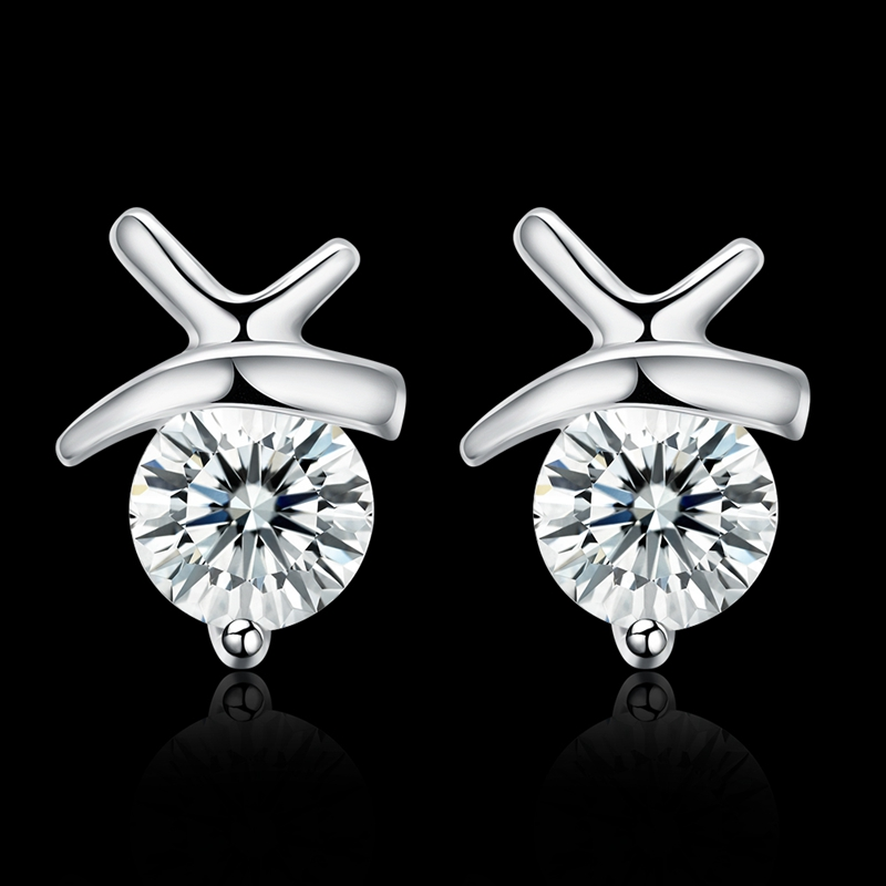 Delicate 100 925 Sterling Silver Dazzling Personality Inlay Clear Cz Small Stud Earrings Women Wedding Jewelry For In From