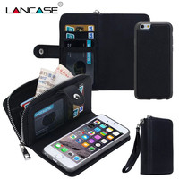 Zip Wallet Case For IPhone 6 Coque Magnetic Removable Multifunction Phone Cover For IPhone 6s Plus