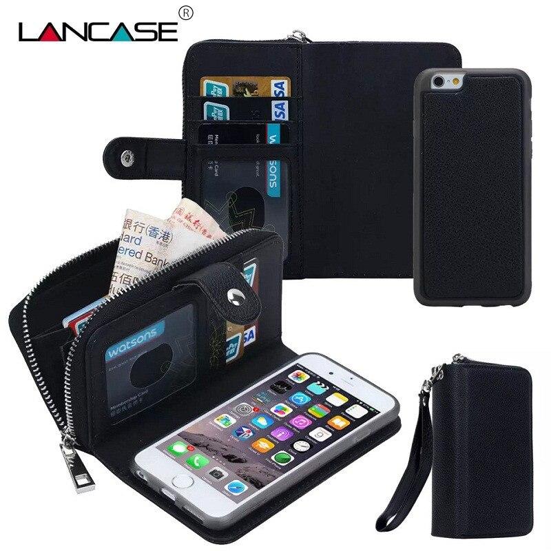 imágenes para LANCASE Para iPhone 6 S Caso Zip Cubierta de Múltiples Funciones para el iphone 6 s 6 Plus 5S 4S 7 Más Caso Cajas Del Teléfono de Cuero Desmontable Coque