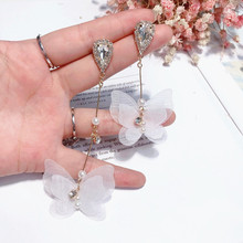 Korean asymmetric crystal butterfly earrings fairy temperament Forest style ltassel earrings Women Fashion Jewelry Accessories