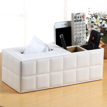 American style pastoral PU leather multi-purpose household tissue box