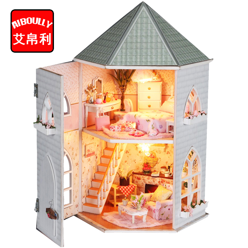 Princess Castle DIY Doll House Miniature Wooden Dollhouse Miniaturas Furniture Toy House Doll Toys for Christmas Birthday Gift