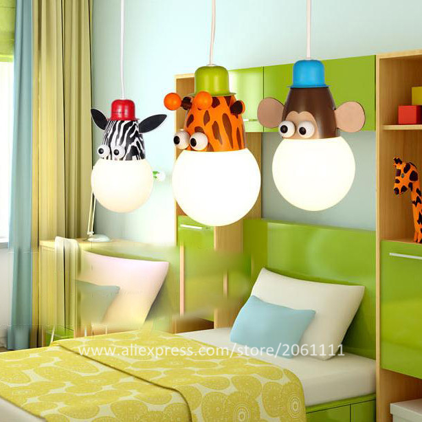 Top Ing Por Adorable Cartoon Childrens Bedroom Light Fixtures Modern Hanging Lamp Zebra Giraffe Monkey Pendant Lighting