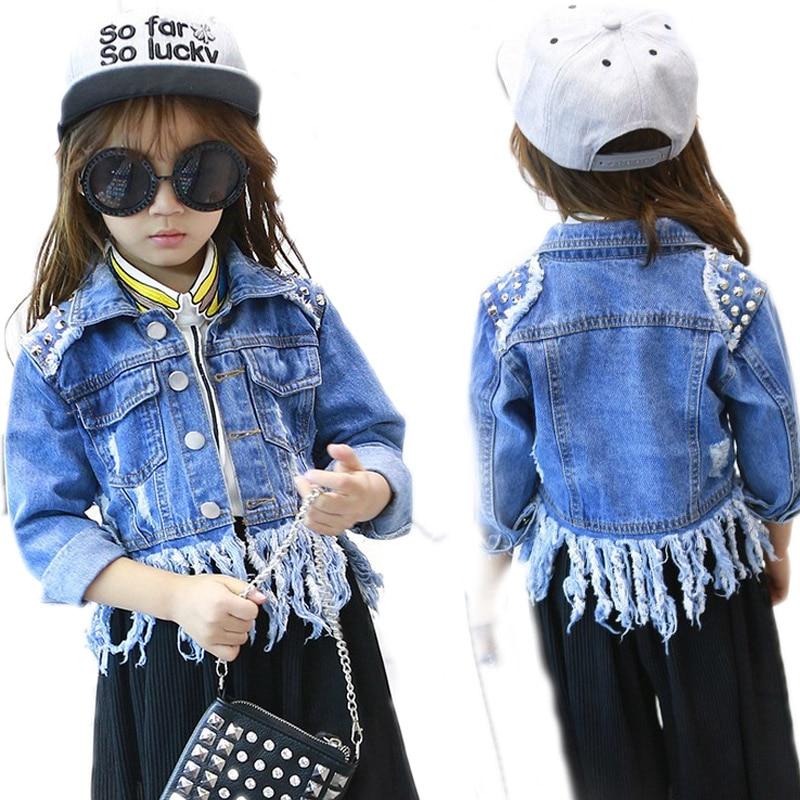 ФОТО girls coats and jackets winter 2017 new fashion girls outwear solid wash denim jackets tassel revit girls jackets and coats 2-7T