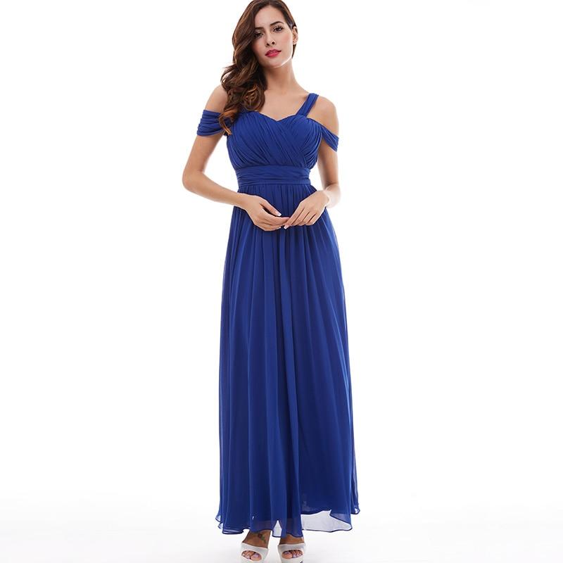 Tanpell banden prom klänning billiga mörk kunglig blå golv längd - Särskilda tillfällen klänningar - Foto 6