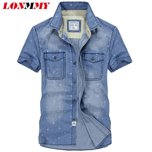 Camisa de mezclilla LONMMY estilo militar para hombre