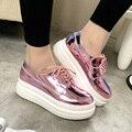 Zapatos de Mujer Hecho A Mano de Cuero de Patente de la manera Diseñador de Las Señoras de Los Holgazanes Planos Zapatos de Plataforma Para Las Mujeres Creepers Planos Ocasionales