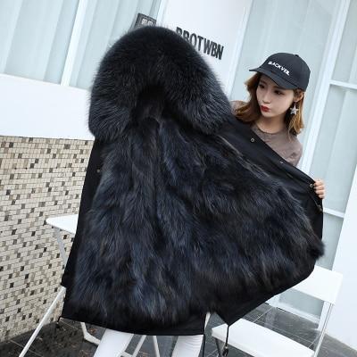 Jacket Women Winter Parkas Long Big Fox Fur Collar Hooded Coats 2018 Ladies Fur Linen Thickened Warm Jackets Plus Size Coat LZ962 (7)