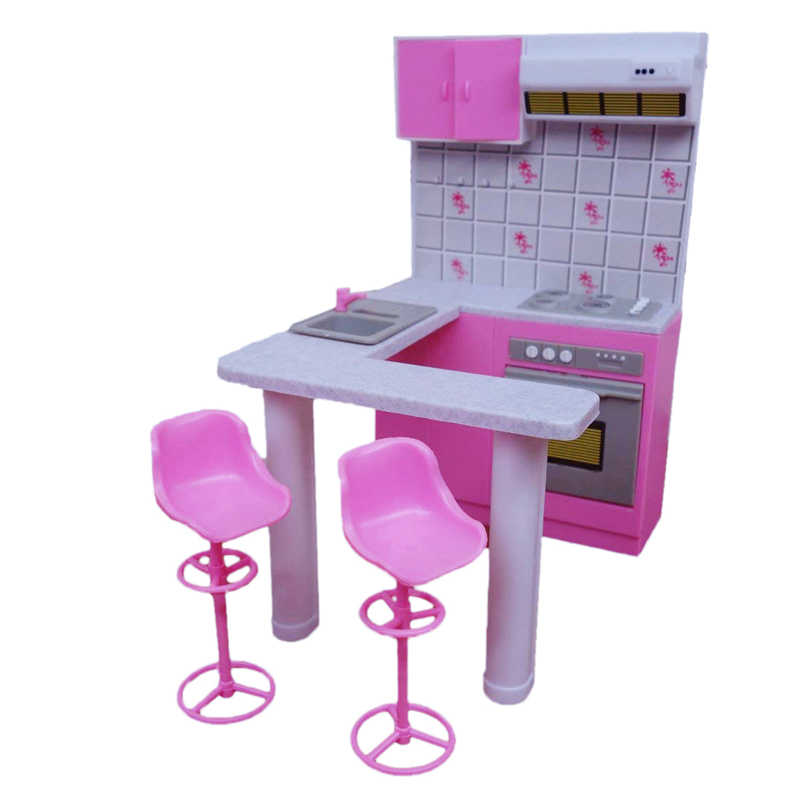 For Barbie Furniture Miniature Kitchen Play Set with 2 Bar Stools 1/6 Doll Accessories for Monster Dolls Kids Toys