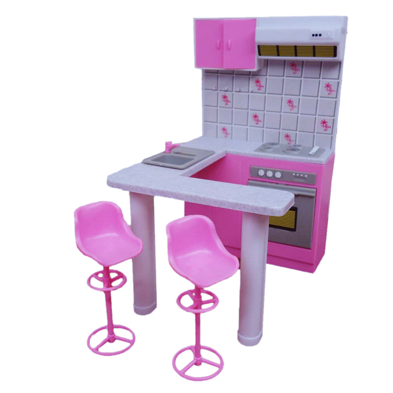US $155.155 For Barbie Furniture Miniature Kitchen Play Set with 155 Bar Stools  15/155 Doll Accessories for Monster Dolls Kids ToysDolls Accessories -