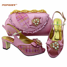 Pink Sweet Bridal wearing 2018 Italian Matching Shoes And Bag Set African  Style Ladies Shoes And Bag To Match For Wedding Dress 90d0dd13c8b9