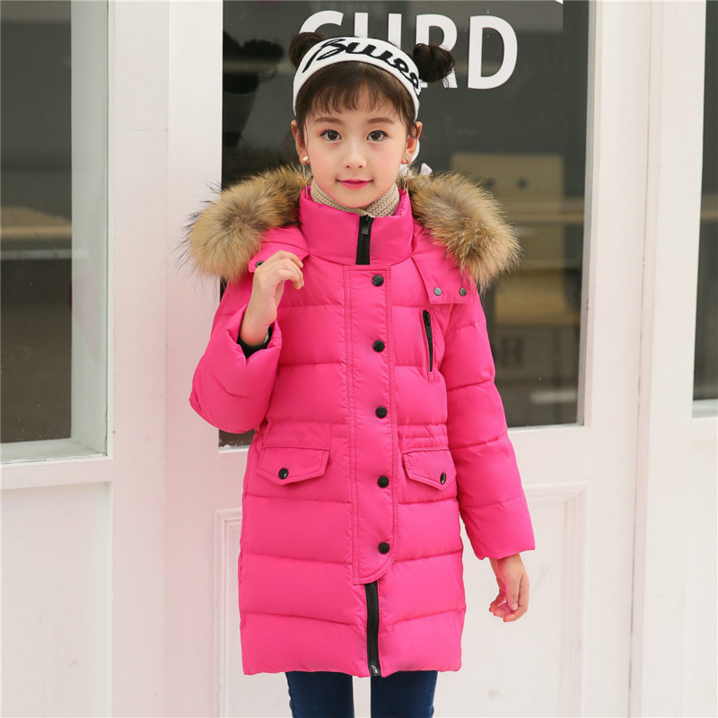 New Children's Cold Winter Down Jacket Girls Thick Warm Down Jacket Boys Long Hair Hooded Jacket Coat Children's Down Jacket les enfantsfashion girls winter thick down jacket sleeveless hooded warm children outerwear coat casual hooded down jacket