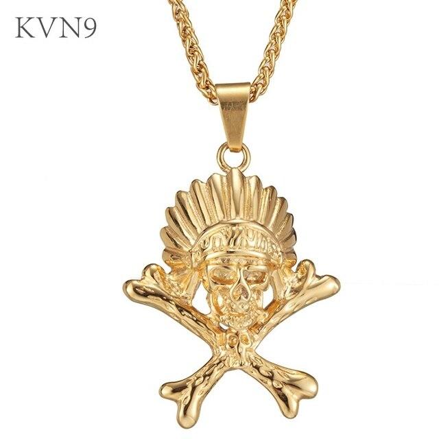 Kvn9 indian head skull crossbones pendant necklace gold color kvn9 indian head skull crossbones pendant necklace gold color jewelry stainless steel skull bones aloadofball Gallery