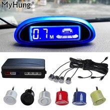 НОВЫЙ парковка Сенсор синий Экран автомобиля Парковочные системы 4 Датчики и светодиодные Дисплей обратный резервный радар Мониторы детектор Системы