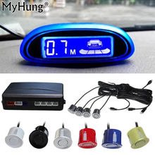 New Parking Sensor Blue Screen Car Parking Assistance 4 Sensors And Led Display Reverse Backup Radar Monitor Detector System