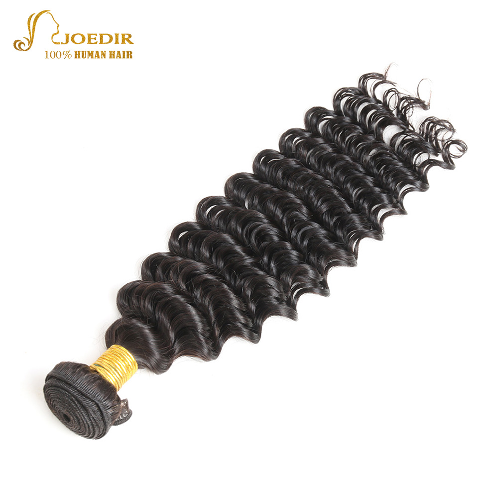 JOEDIR Pre-Colored Indian Deep Wave 1 Bundle 100% Human Hair bundles 10-26 inch hair Extension Can Mix Any Length