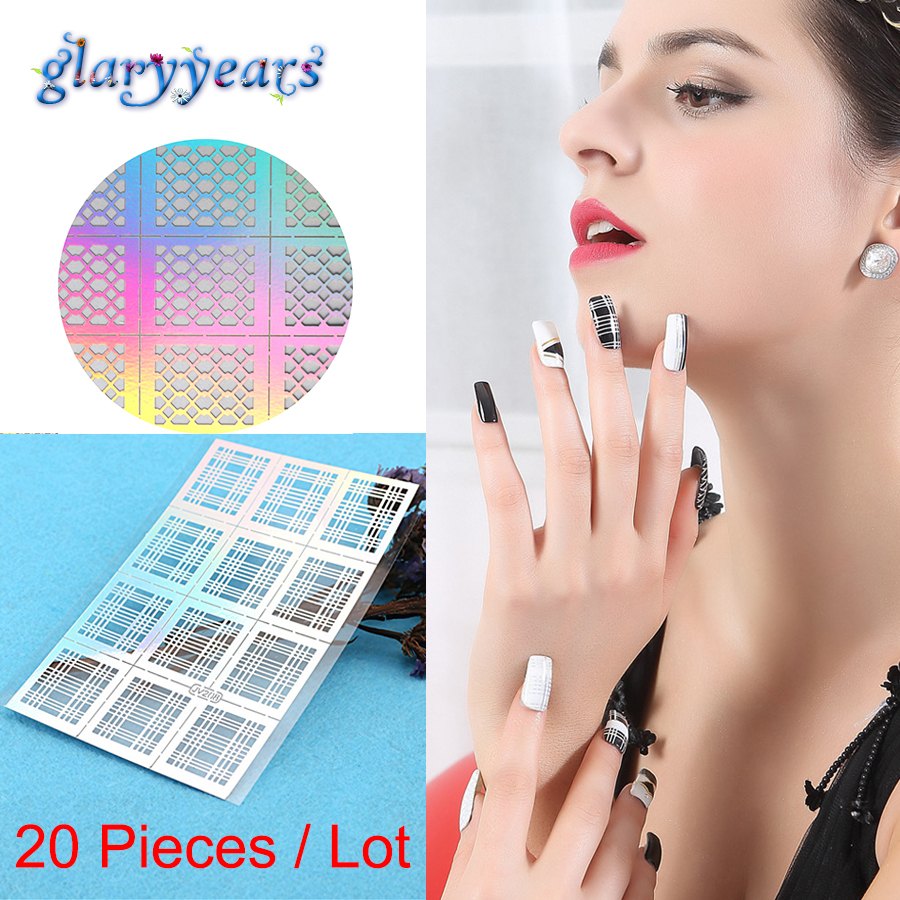 20 Sheets Wholesale Nail Stickers Stencils 3d Hollow Beauty