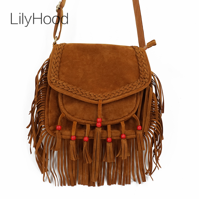 LilyHood 2018 Women Fringe Shoudler Bag Faux Suede Beaded Ibiza Boho Chic Hippie Gypsy Music Bohemian Fringe Brown Crossbody Bag genuine leather suede vintage bohemian fringe messenger crossbody bag purse women tassel boho hippie gypsy fringed handbag women