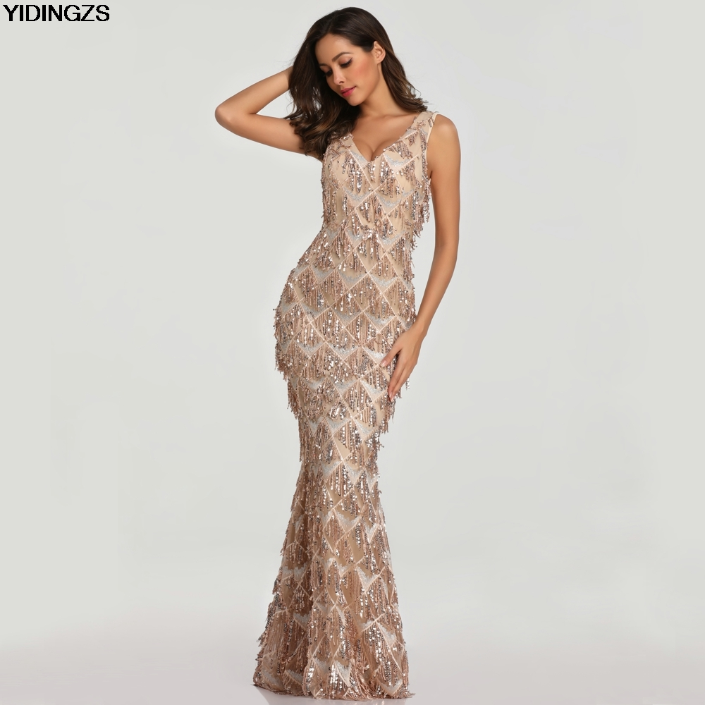 Yidingzs 2019 Sexy V Neck Tassel Sequin Sleeveless Evening Dress Women Elegant Long -9042