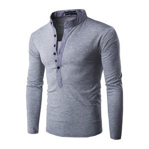 Image 2 - Polo à manches longues pour Homme, nouvelle tendance, coupe Slim pour Homme, 2016 coton, taille Xxl, décontracté