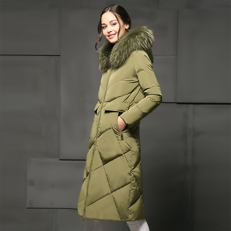 Real large fur collar X-Long down jacket women coats 2017 winter coat women jackets and coats slim thickening down coat female