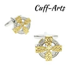 Fasten-Button Cufflinks Jewelry-Cuff Gold Men's Round C10171 1-Pair Unique