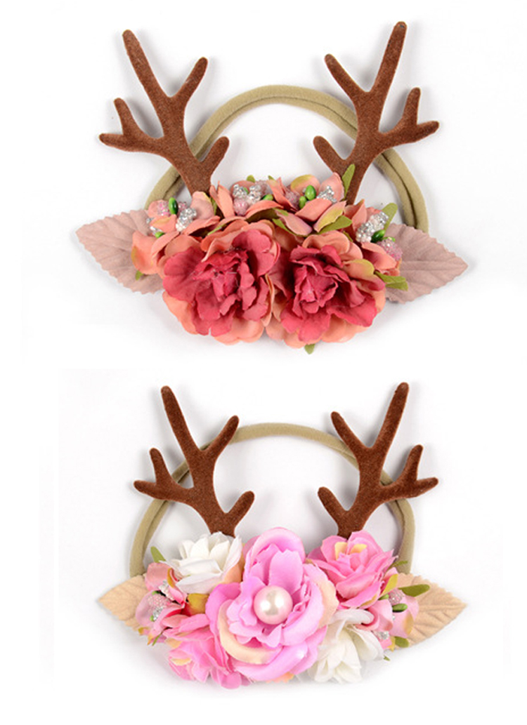Coffee Amosfun Christmas Headband Reindeer Elk Deer Horn Fabric Headdress Party Supplies for Kids Baby Women Girl Cosplay