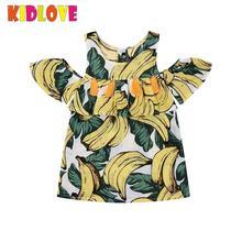 Kidlove Baby Girls Mini Dress Cotton Yellow with Tassel Banana Printed Ruffle Kids Summer Sleeveless Children Clothing ZK30