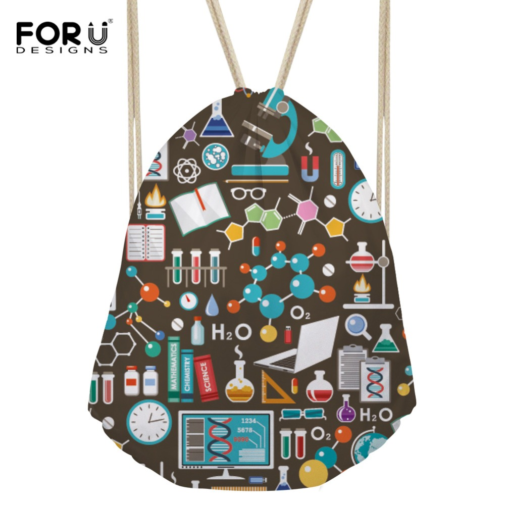 FORUDESIGNS Women's Drawstring Bag Small Science Formula Printing Backpack Girls String Package For Kids Cute Beach String Bags