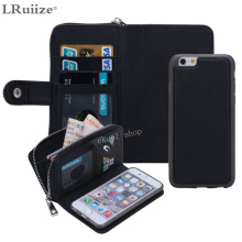 LRuiize Leisure women man Luxury PU Leather Purse Zipper Wallet Case Card Cash Holder For Samsung