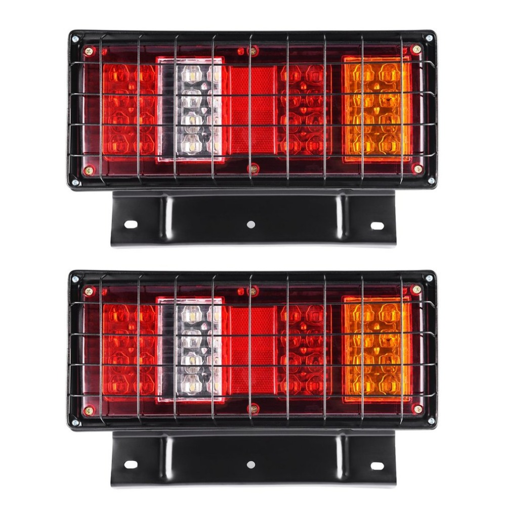 A Pair 24V 32 LED Long-lasting Rear Tail Brake Stop Reverse Light Multi-functional Indicator Lamp For Trailer Truck Caravan car styling tail lights for toyota highlander 2015 led tail lamp rear trunk lamp cover drl signal brake reverse
