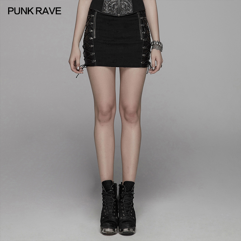 PUNK RAVE frauen Punk Rock Metall Halb Rock Gothic Mode Spitze up Slimm Mini Rock Persönlichkeit Harajuku Streetwear-in Röcke aus Damenbekleidung bei  Gruppe 1
