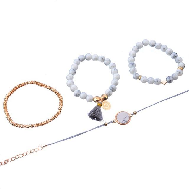 4 Pcs/ Set Bohemian charm bead Bracelet Women tassel Bangles gold heart Bracelets Sets Jewelry Party Gifts 3