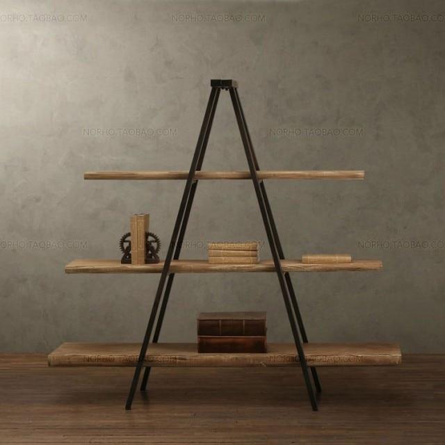 American Country Furniture Wrought Iron Wood Bookcase Shelf Storage Rack Display Vintage Ladder