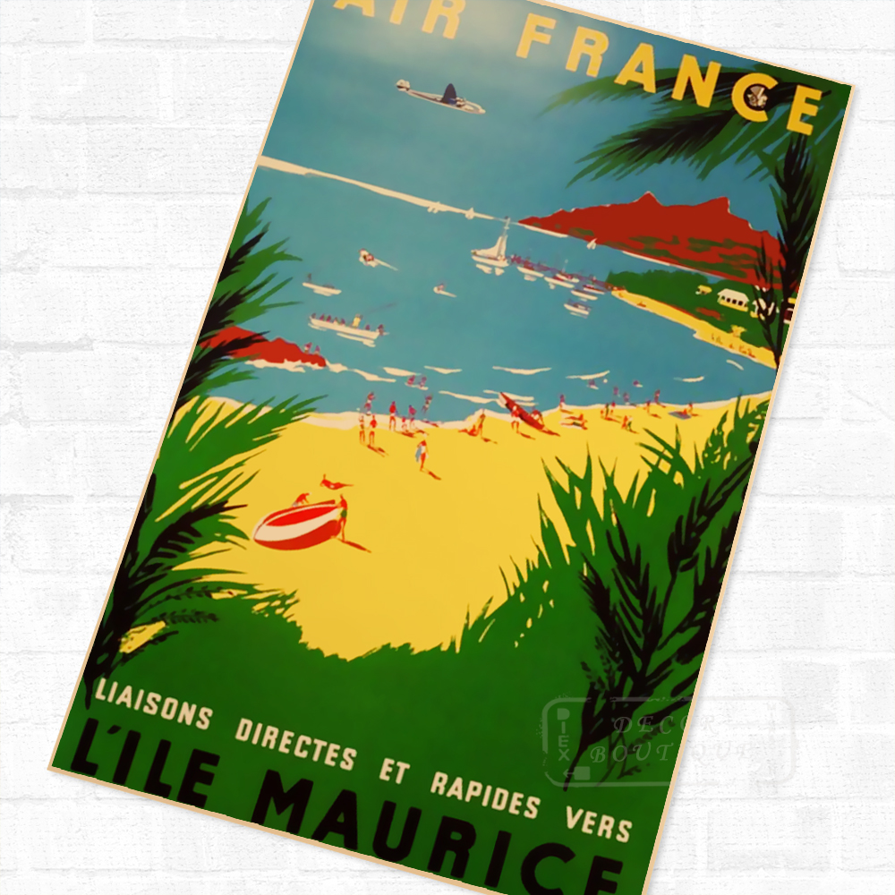 Online Shop Air France Mauritius Beauty Landscape Trip Travel Retro ...